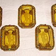 Set of 5 Czech Intaglio Salt Cellars in Jeweled Brass  Holders