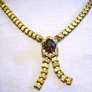 Victorian Gold Filled Book Chain Necklace w/ Garnet Stone