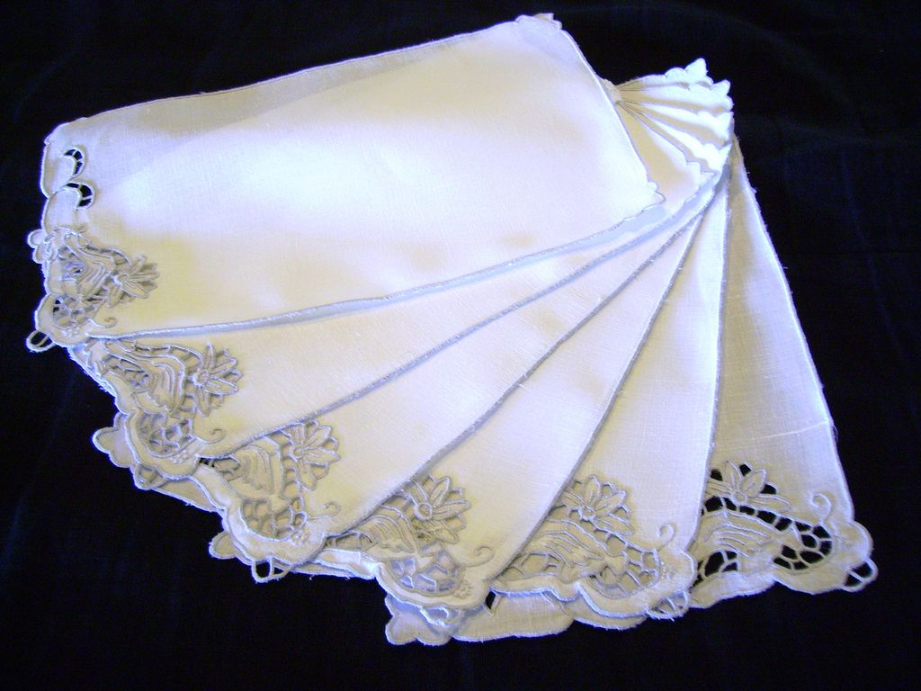 Set of Six Large Linen and Cutwork Rooster Cocktail Napkins
