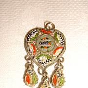 Vintage Italian Roma Heart Shaped Micromosaic Pendant
