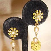 Miriam Haskell Baroque Pearl & Filigree Dangle Earrings