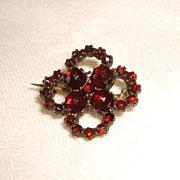 Victorian Rose Cut Bohemian Garnet 4 Leaf Clover Pin