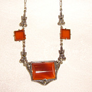 Art Deco Carnelian & Marcasite Necklace on Paper Clip Chain