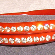 Red Celluloid Rhinestone Wrap Bangle Bracelet