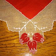 Vintage Red Lipstick Handkerchief with Net Lace Edge