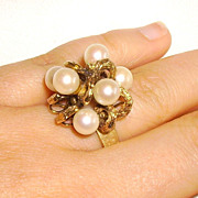 Vintage 14K Gold & Cultured Pearl Cocktail Ring Size 7.5