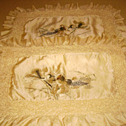 Early Chinese Silk Embroidered Ruffle Pillow Shams with Birds
