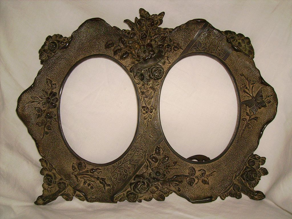 victorian bronze double picture frame with butterfly flowers - Double Picture Frame