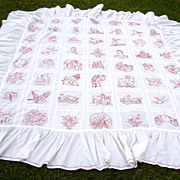 Turkey Red Work Embroidery Ruffled Bed Spread with President  Roosevelt