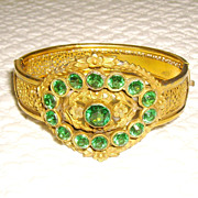 Victorian Revival Green Glass Rhinestone & Brass Bangle Bracelet