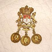 Early Regal Coro Heraldic Shield Pin with Replica Coins.