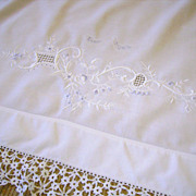 "Hand Embroidered Italian Layover Pillow Sham ""Sweet Rest"""