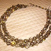 VENDOME Double Strand Rhinestone & Crystal Bead Necklace