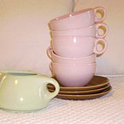 Russel Wright Mid Century China Brown & Pink Cups/Saucers Plus Creamer