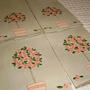 Set of 4 Marghab Rose Tree Madeira Linen Fingertip Towels
