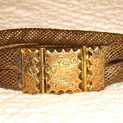 Victorian Woven Hair Mourning Bracelet 10K Clasp