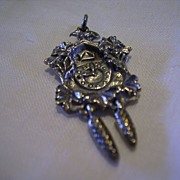 Vintage 800 Silver German Black Forest Cuckoo Clock Charm Movable