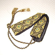 Gold Metallic Embroidered Belt w/ Genuine Gemstones