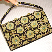Gold Metallic Embroidered Handbag w/ Natural Gemstones