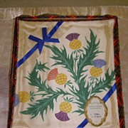 Vintage Hand Painted Scottish Thistle Rayon Damask Tablecloth NOS
