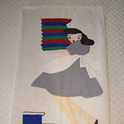 CUTE! Vintage Linen Towel with Applique Waitress