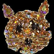 Warner Amber Aurora Borealis Rhinestone Cat Pin