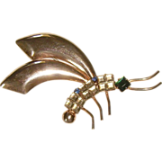 Retro Sterling Vermeil & Rhinestone Dragonfly Bug Pin