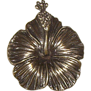 Vintage Ming's of Honolulu Sterling Hibiscus Brooch
