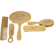 """Celluloid """"FRENCH IVORY"""" Vanity Set Personalized """"Myrtle"""""""