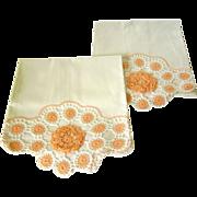 Pair of Vintage Hand Crochet Pillowcases