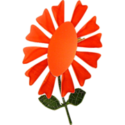Mod Enamel Flower Brooch