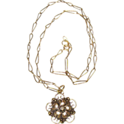 Art Nouveau 10K Gold Child's Necklace w/ Diamond