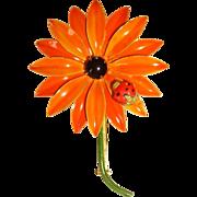 Original by Robert Enamel Flower Pin w/ Lady Bug