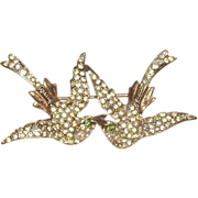 Sterling & Rhinestone Love Birds Brooch
