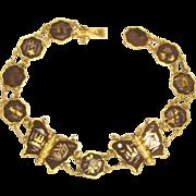 Vintage Japanese Damascene Butterfly Bracelet