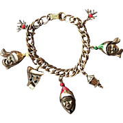 Adorable 1970's Mylu Carolers Gold-tone Charm Bracelet