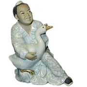 Pottery Numbered China Boy Holding Goose Figurine