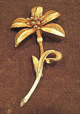 Large Signed BSK Gold-Tone Floral Pin
