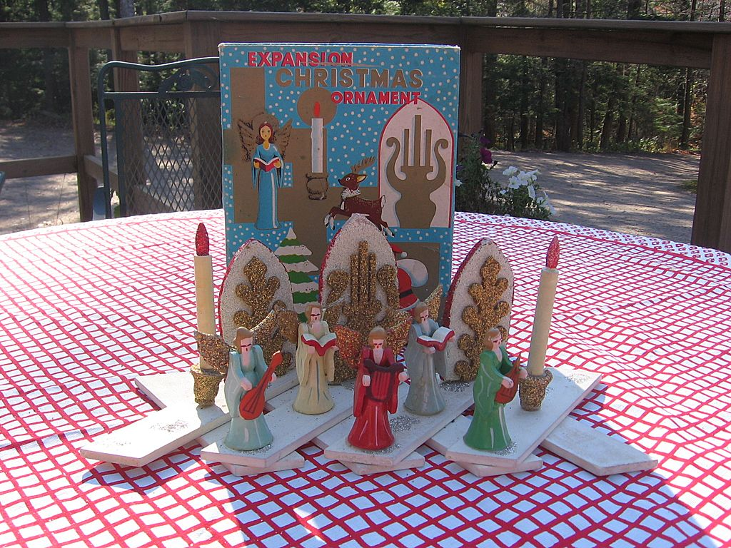 Rare Christmas Angel Wooden Expansion Decoration With box
