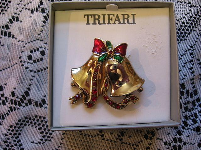 Trifari Christmas Rhinestone Bell Pin
