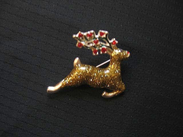 Signed Metallic Reindeer Christmas Pin
