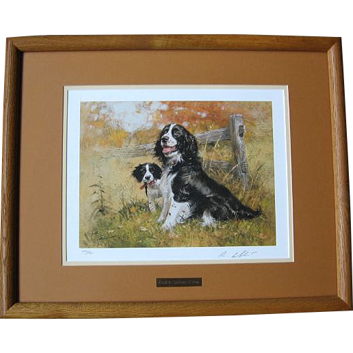 "Beautiful Signed Framed Robert K. Abbett ""English Spring & Pup"" Print"
