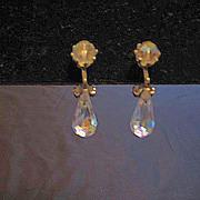 Aurora Borealis Crystal Drop Clip Earrings