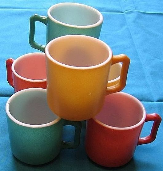 1950's Hazel Atlas Kiddie  Ware Glass Mugs Set Of Ten