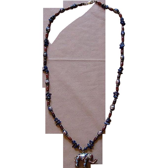 Beautiful Cloisonne Elephant Necklace