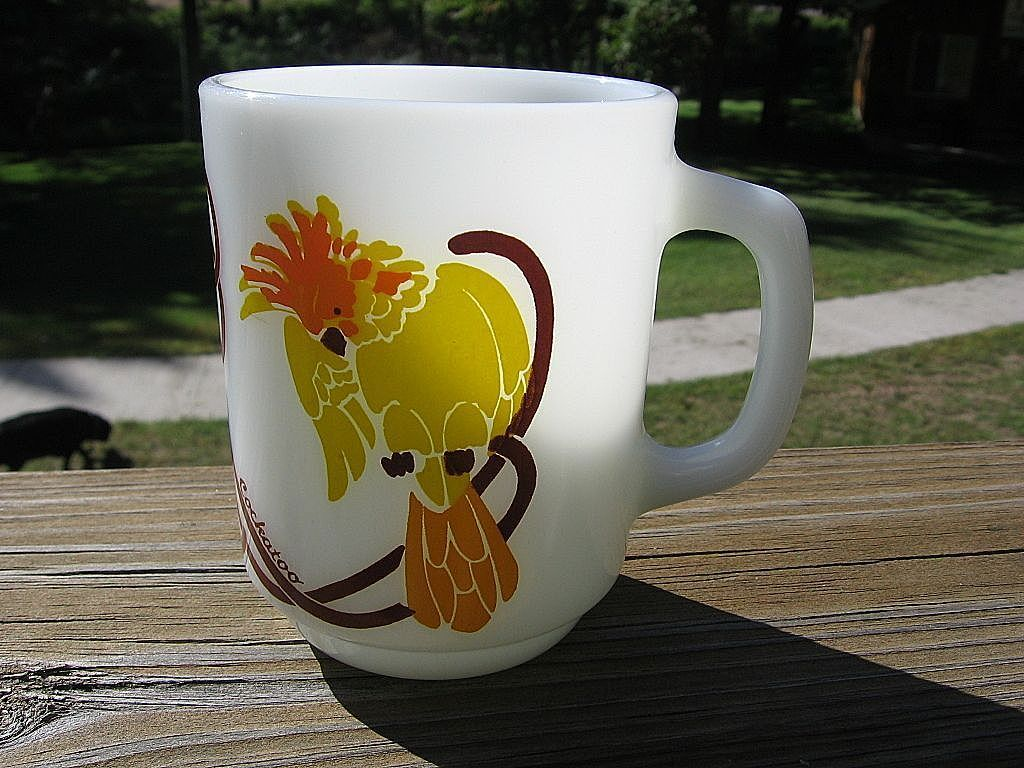 Anchor Hocking Fireking Glass Cockatoo Mug
