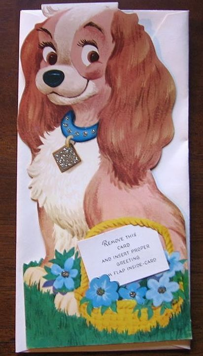 Rare Unused 1940's Walt Disney Lady Dog Gibson Kiddycard
