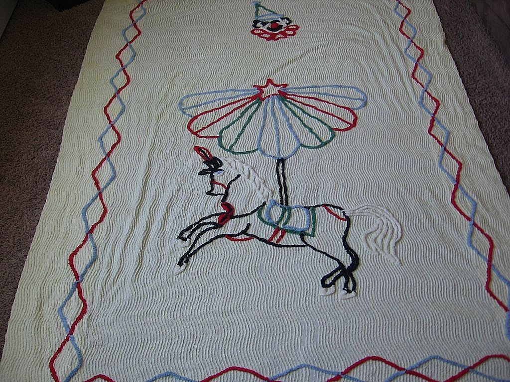 1950's Chenille Yellow Carousel Clown Twin Bedspread