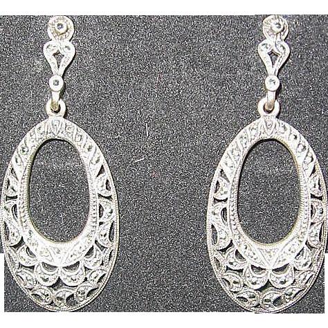 Sterling Marquisette Pierced Earrings