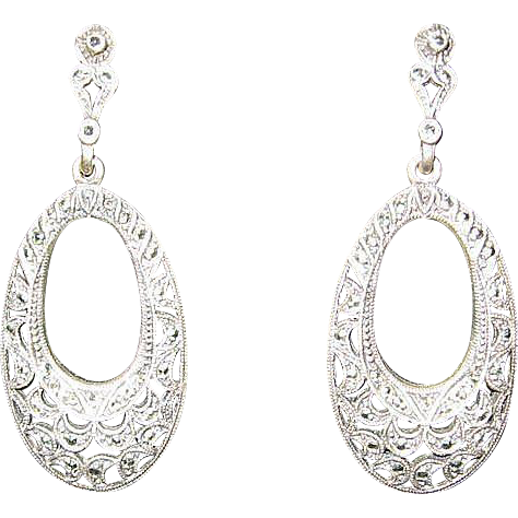 Sterling Marquisette Pierced Earrings